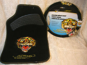 Ed Hardy By Christian Audigier Set Of Floor Mats And Steering Wheel Cover