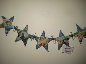 5 Easter Fabric Stars Sewn Into A 24 In Garland Prim Country Home Decor