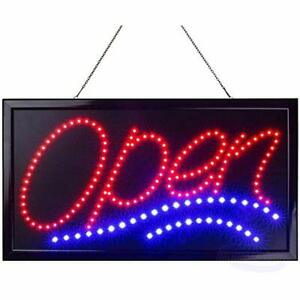 Large Led Neon Open Sign Business Jumbo Lighted Static Flashing Modes Electric