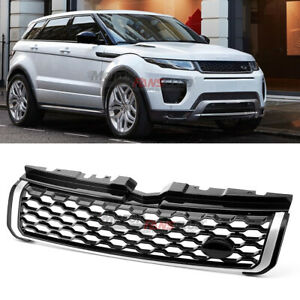 For Range Rover Evoque 2012 18 Gloss Black W Silver Abs Front Grille Vent Grill