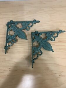 Vintage Antique Style Ornate Cast Iron Wall Shelf Bracket Set Of 2