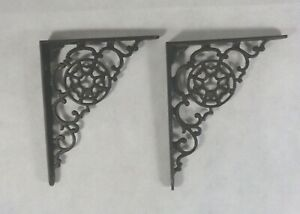 Vintage Black Cast Iron Shelf Brackets Supports Set Of 2