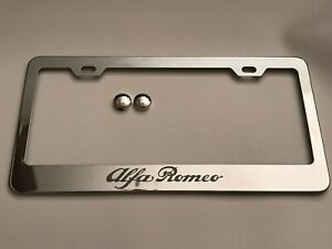1x Alfa Romeo Chrome Stainless Steel License Plate Frame Screw Caps