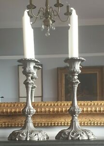 Pair Antique Georgian Style Pewter Candlesticks Hallmarked 18th C Style 19th