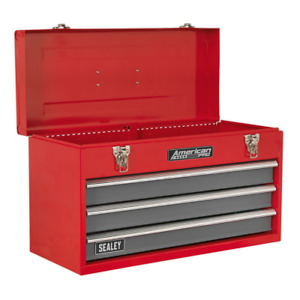 Last Few Tool Chest 3 Drawer Red Grey Toolbox Tool Kit Ball Bearing Slides