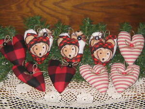 9 Christmas Hearts Teddy Bears Buffalo Plaid Red Stripe Fabric Tree Ornaments