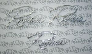 1964 1965 Buick Riviera Fender Trunk Script Monogram Emblem Kit New Early