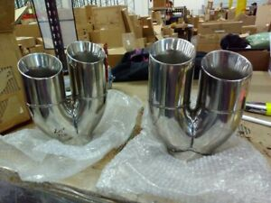 Returned Unused Pair Exhaust Tailpipe Tips 3 Inlet Quad 3 Staggered Out 8 L