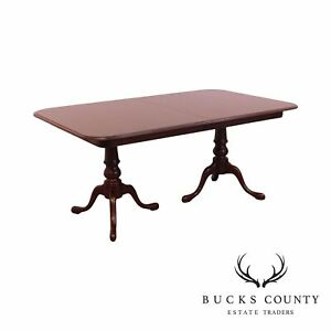 Ethan Allen Solid Cherry Queen Anne Double Pedestal Dining Table