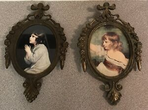 2 Small Vintage Oval Ornate Metal Frame Pictures Made In Italy 6 5 X 4