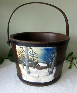 Antique Hand Painted Wooden Bucket Firkin Maple Sugar House Country Farmhouse