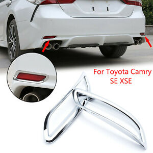 Chrome Rear Bumper Reflector Decor Cover Trims For Toyota Camry Se Xse 2018 2019