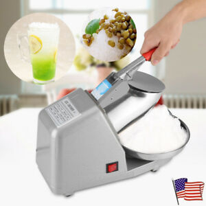 Manual Electric Ice Crusher Shaver Machine Snow Cone Maker Commercial 1350rpm Us