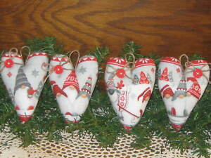 4 Country Christmas Gnome Fabric Hearts Tree Ornaments Wreath Making Accents