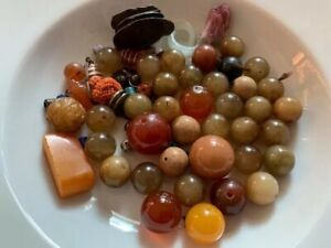 Antique Chinese Collection White Jade Baltic Amber Coral Beads Estate Find