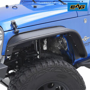 Eag Fits 07 18 Jeep Wrangler Jk Front Steel Rocker Guard Textured Fender Flares