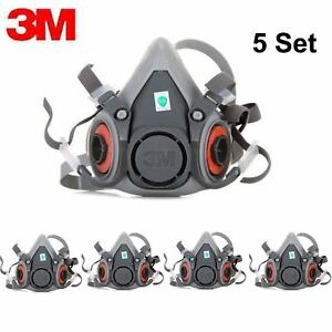 5pack 3m 6200 Half Face Spray Paint Dust Gas Mask Respirator Facepiece Medium 5