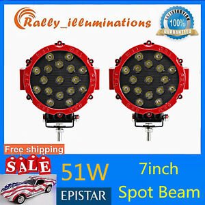 2x 7inch 51w Round Led Work Light Spot Off road Fog Driving 4wd Boat Red Bumper