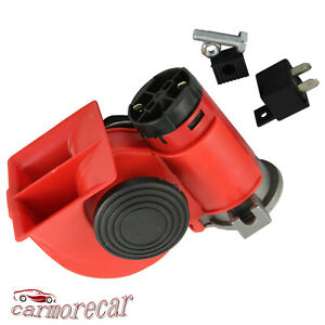 Red Electric Air Horn Compressor Truck Train Car Interior Dual Tone Trumpet Loud