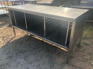 Heavy Duty 72 X 30 Commercial Stainless Steel Table Work Cabinet W pan Slots