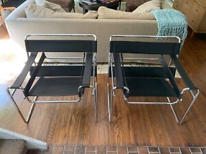 Pair Of Mcm Breuer Wassily Style Chairs
