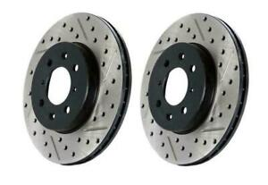 Stoptech Slotted Drilled Sport Front Brake Rotors For 94 04 Mustang Svt Cobra