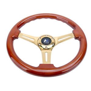 14 Wood Grain Steering Wheel 6 Bolts 1 75 Dish Gold Chrome Spoke Fit For Acura