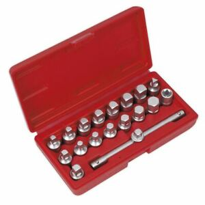 Sealey 19pc 3 8 Drive Oil Drain Sump Plug Key Set Engine Gearbox Back Axle
