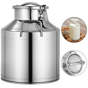 10l 2 64 Gallon Stainless Steel Milk Can Wine Pail Bucket Tote Jug In One Piece
