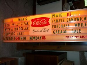 VINTAGE FISHTAIL COCA-COLA MENU BOARD SIGN WITH LETTERS AND NUMBERS AND LIGHTS U
