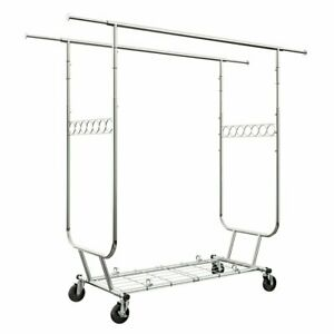Heavy Duty Rolling Rail Clothing Garment Rack Wheels Expandable Rod Collapsible