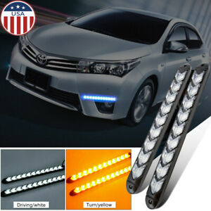 2x Led Sequential Flasher Turn Signal Light Amber White Switchback Arrow Strips
