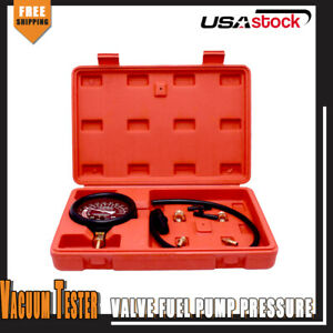 Carburetor Valve Fuel Pump Pressure Vacuum Tester Gauge Kit Universal Fit Cars