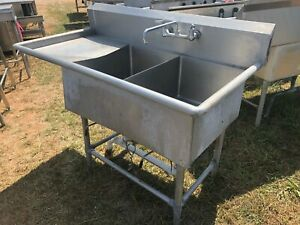 Stainless Steel 58 X 30 Heavy Duty 2 Compartment Wash Kitchen Sink W faucet