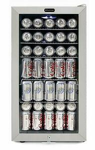 Commercial Beverage Refrigerator Glass Locking Door Led Lights 120 Can Capacity
