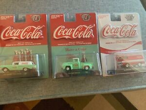 M2 Machines COCA-COLA 1964 Dodge A100 Panel Van COKE And 1956 Ford 57 Chevy