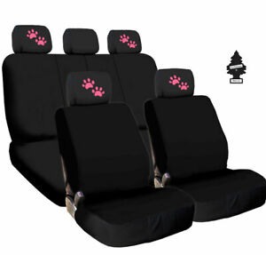 For Ford Pink Paws Fabric Car Truck Suv Seat Covers Headrest Full Set