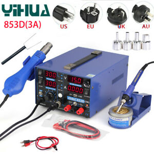 Yihua 853d 3a Usb Rework Soldering Station Preheating Solder Iron W Hot Air Gun