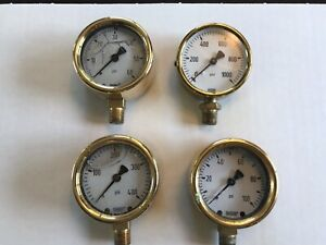Lot Of Four 4 2 5 Brass Pressure Guages Steam Steampunk Project