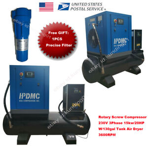 Rotary Screw Air Compressor 230v 15kw 20hp 3phase W 130gallon Tank 3600rpm Hpdmc