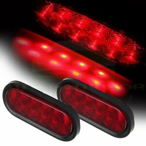 2x 6 Oval Red 10led Reverse Backup Trailer Truck Tail Light High Low Brightness
