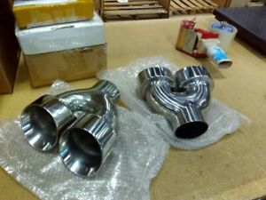 Returned Unused Stainless Steel Exhaust Tips 2 5 Inlet Quad 3 5 Out Dual Wall