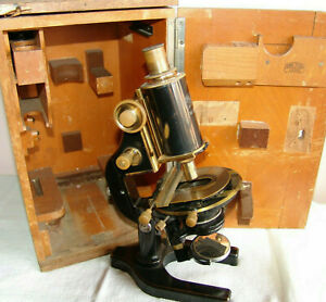 Vintage Carl Zeiss Jena High Grade Microscope With Wooden Box 1940 s