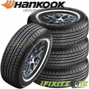 4 Hankook Optimo H724 P225 75r15 102s White Wall Wsw All Season Touring Tires
