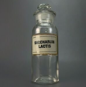 Antique Saccharum Medicine Apothecary Pharmacy Glass Label Stopper Jar Bottle