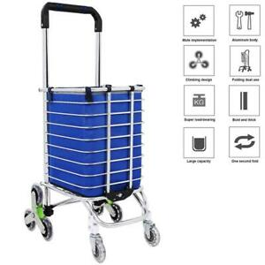 Folding Shopping Cart Grocery Trolley Laundry Stair Climbing Large Handcart Bag