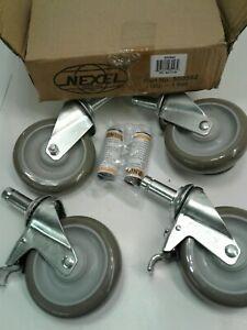 Nexel 5 Swivel Stem Casters 2 With Brakes 500592 New Qty 4