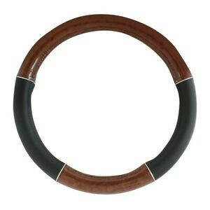 Universal 18 Inch Steering Wheel Cover Truck Leather Chrome Trim Wood 54007