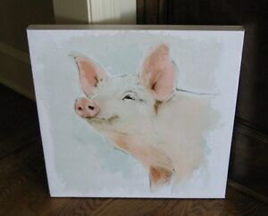 Pig Hog Canvas Wall Picture Farmhouse Primitive Home French Country Decor New