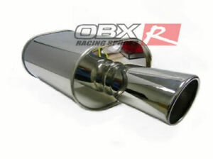 2 5 Inlet Harpoon Style Muffler By Obx Racing W Flared Rolled Slant Cut Tip
